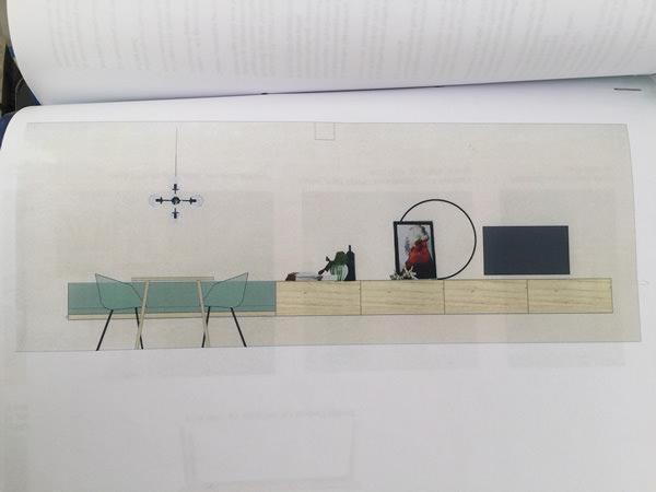 Entwurf für eine Kombination Sitzbank und Sideboard